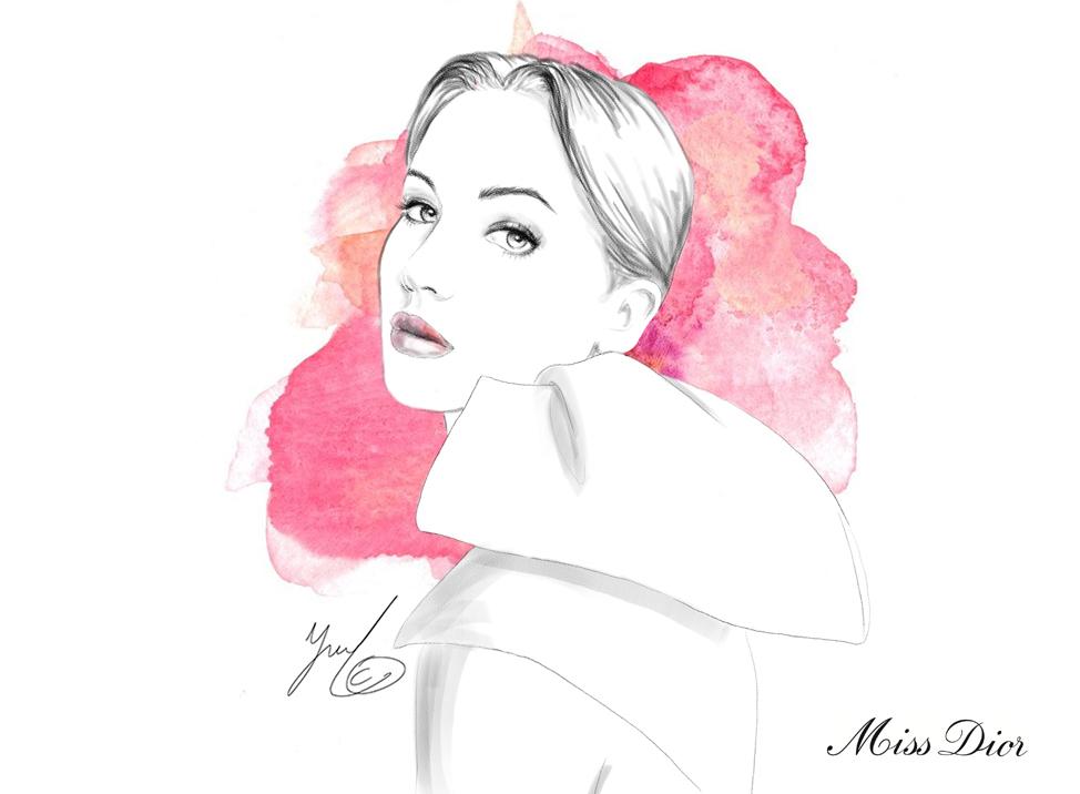 miss dior fashion illustration
