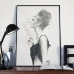 black and white watercolor fashion illustration