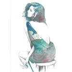 watercolors, pencil and photoshop fashion illustration