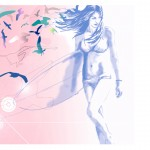swimwear digital surfer girl fashion illustration