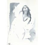 black and white watercolor fashion illustration