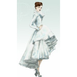 mixed media fashion illustration for Dior dress