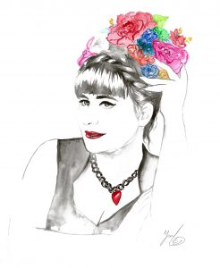 watercolor portrait of Anna - Plus size fashion designer