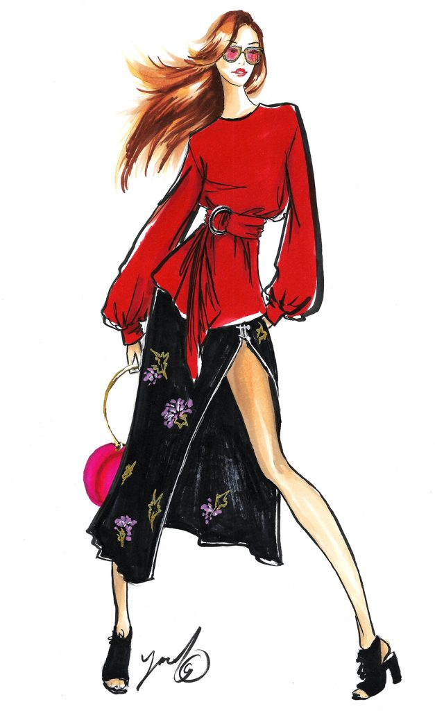 fashion illustration for Moran Harush fashion blogger cupcakeofglam