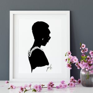 audrey hepburn fashion drawing poster