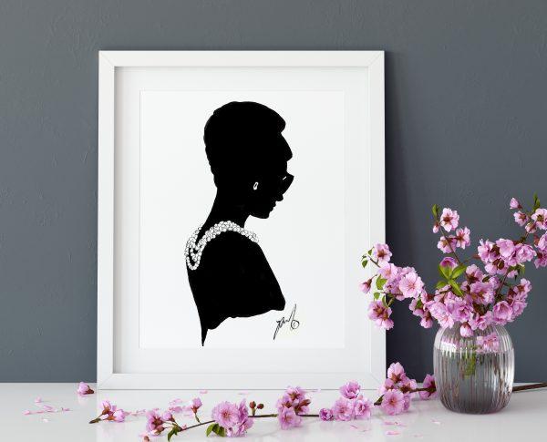 audrey hepburn fashion drawing poster